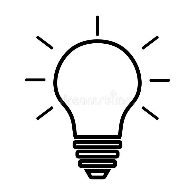 Light Bulb line icon vector isolated on white background. Idea sign, solution, thinking concept. Lighting Electric lamp. stock image