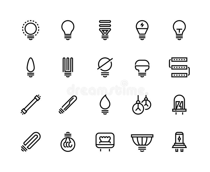 Light bulb line icons. Business idea energy efficient creative drawing think electric lamp glow power efficiency royalty free illustration