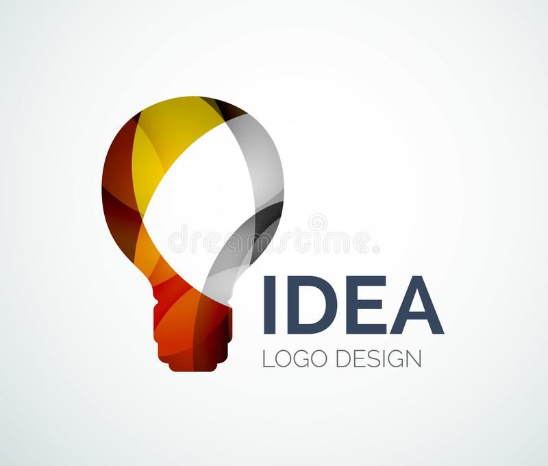 Light bulb logo design made of color pieces. Abstract light bulb logo design made of color pieces - various geometric shapes vector illustration