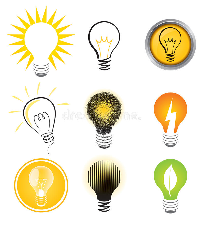 Download Light Bulb Logo Set stock vector. Image of button, yellow - 27845960