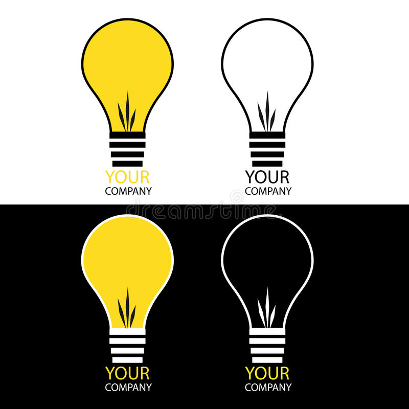 Light bulb logos. Set of four isolated light bulb logos,colors and black and white version.EPS file available royalty free illustration
