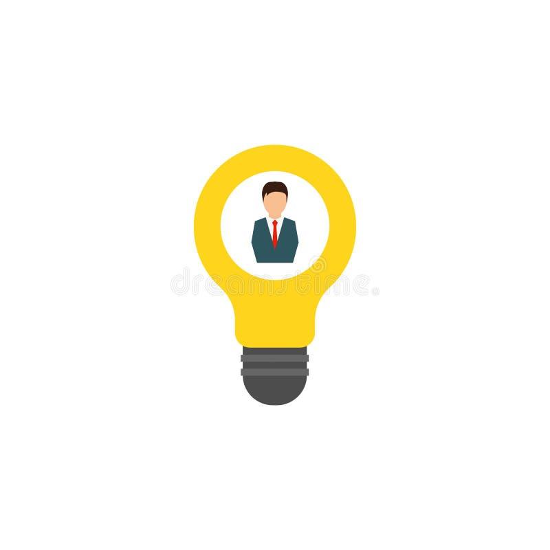 Light bulb, man and lamp, idea. White background. Vector illustration. EPS 10 vector illustration