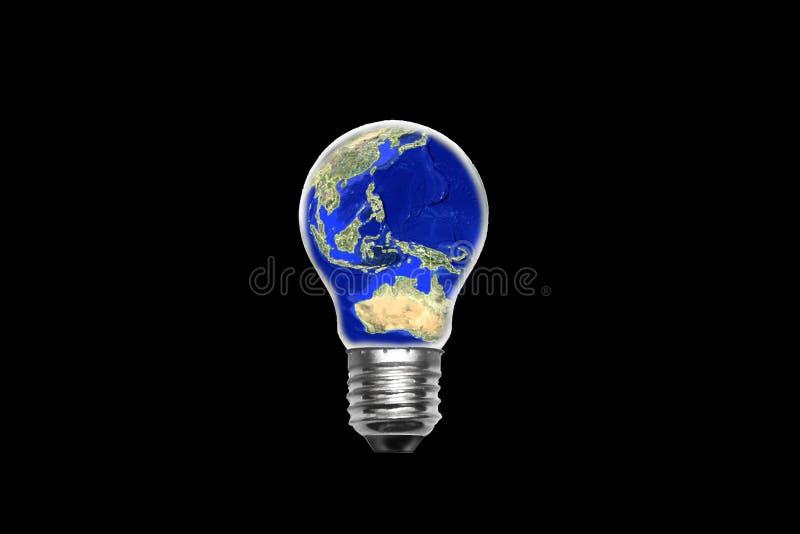 Light bulb maps world stock illustration