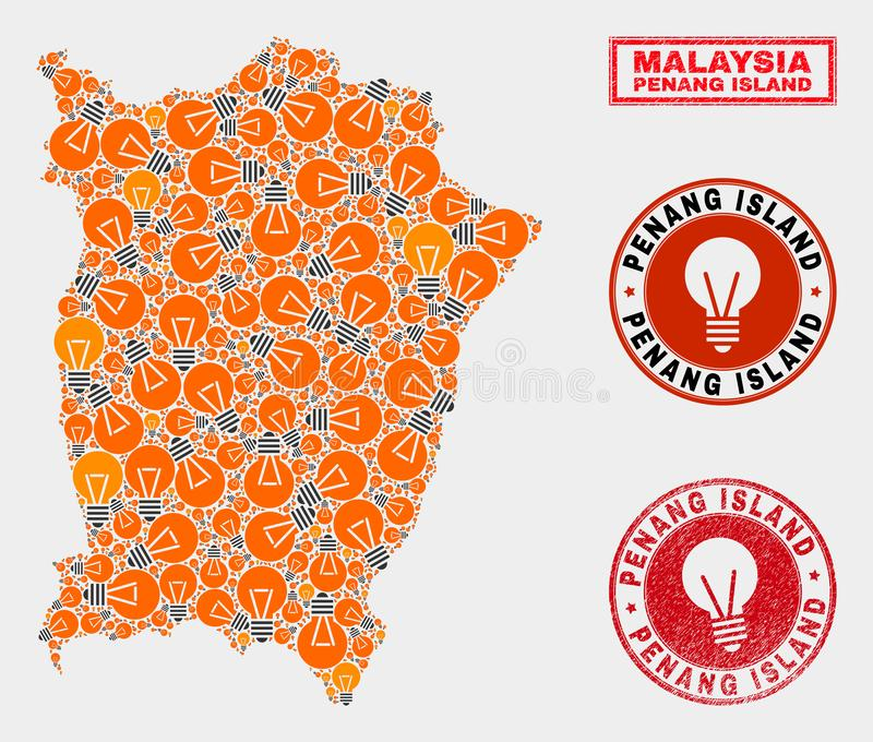 Energy Lamp Collage Penang Island Map and Rubber Stamps. Light bulb mosaic Penang Island map and grunge rounded stamp seals. Mosaic vector Penang Island map is stock illustration