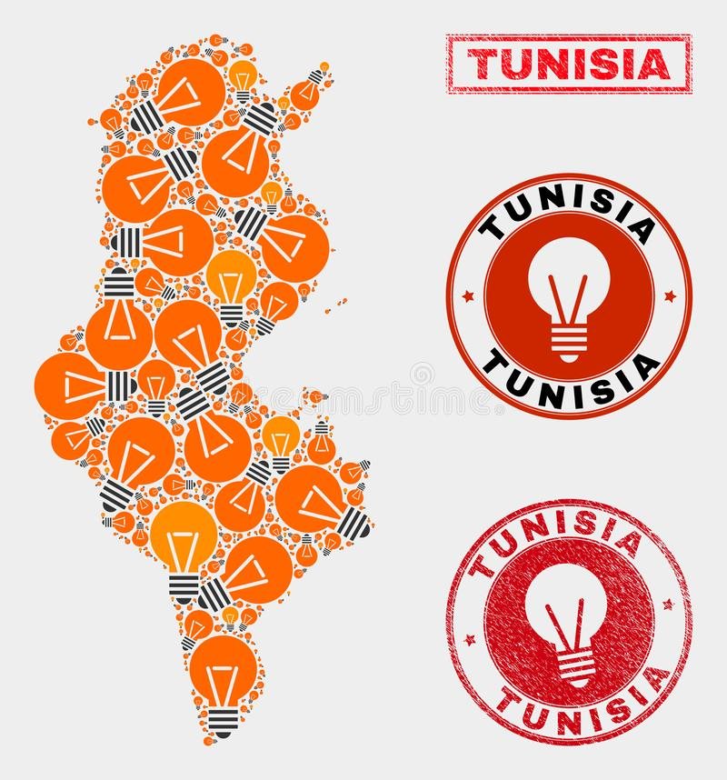 Light Bulb Mosaic Tunisia Map and Distress Stamp Seals. Power bulb mosaic Tunisia map and rubber round stamp seals. Mosaic vector Tunisia map is composed with vector illustration