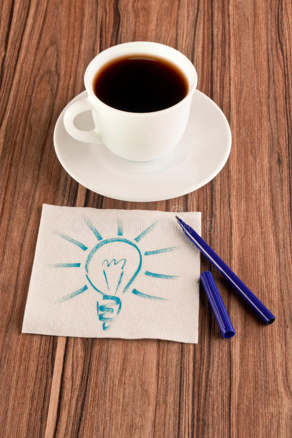 Light Bulb On A Napkin Royalty Free Stock Images