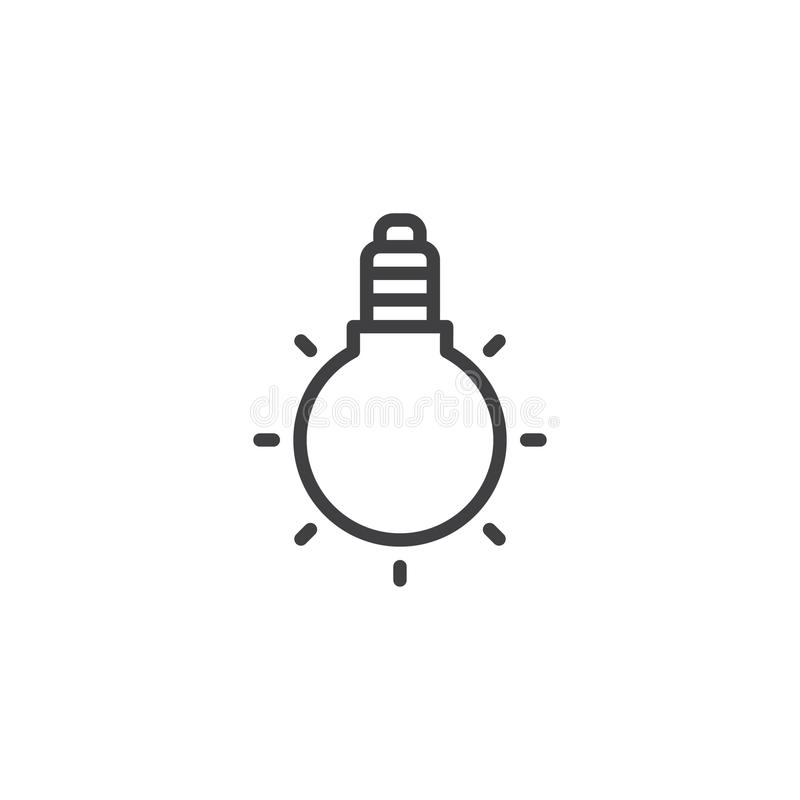Light bulb outline icon stock illustration