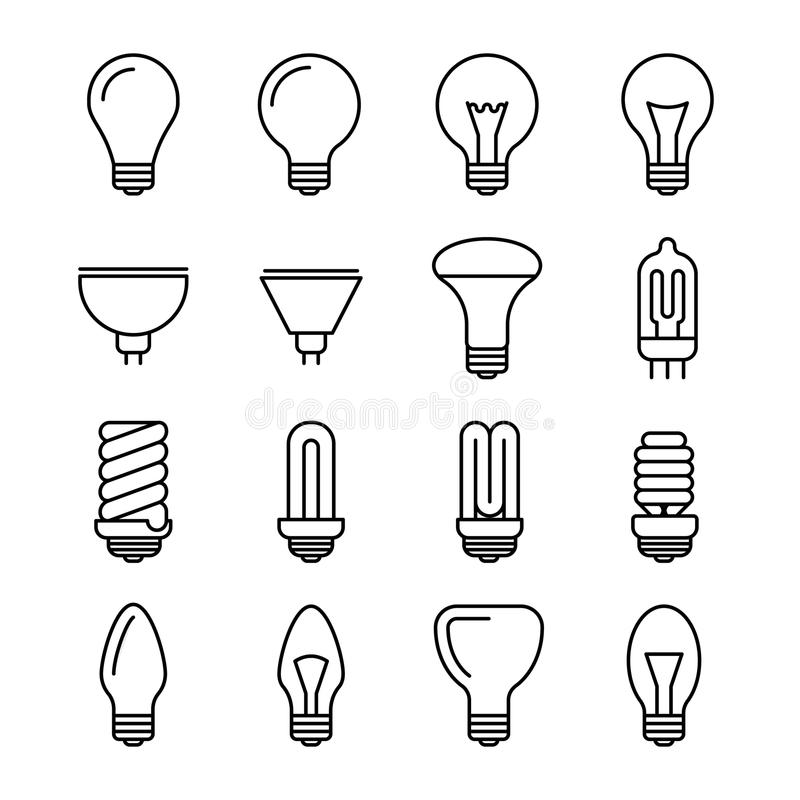 Light bulb outline vector icons vector illustration