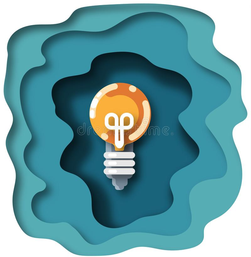 Light bulb in paper cut style. Isolated. stock illustration