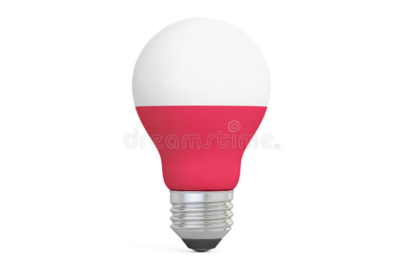 Light bulb with Poland flag, 3D rendering. Isolated on white background royalty free illustration