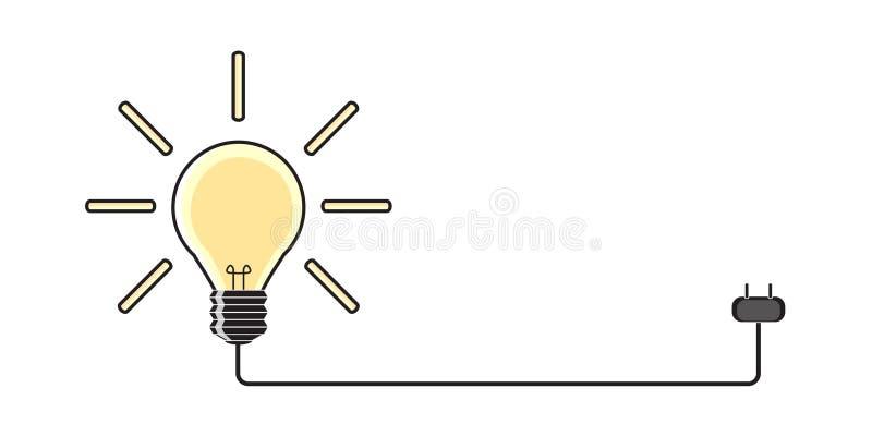 Light bulb Power plug icon Idea on white background. stock photos