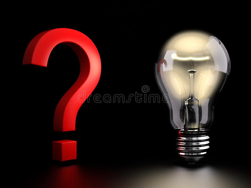 Light bulb with question vector illustration