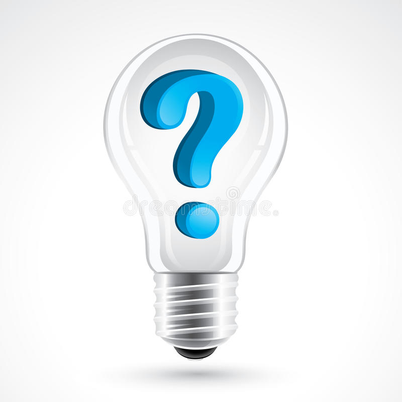 Light bulb with question mark royalty free illustration