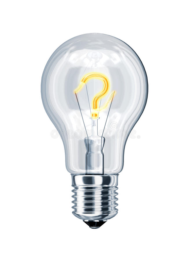 Light bulb with question mark inside. royalty free stock photo