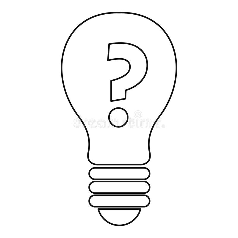 light bulb with question mark inside icon outline stock
