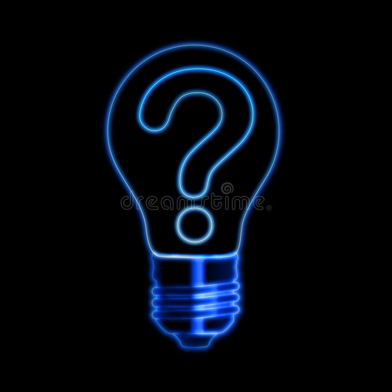 Light bulb with question sign stock photography