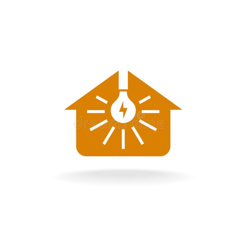 Light bulb with rays inside of a house silhouette logo. vector illustration