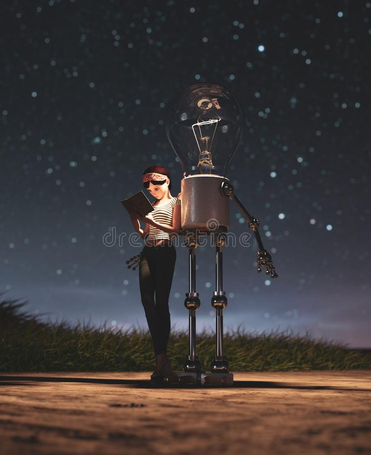 Light bulb robot giving a light to the girl who reading a book in starry night. Conceptual background,3d rendering vector illustration