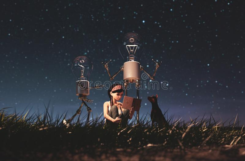 Light bulb robot giving a light to the girl who reading a book in starry night. Conceptual background,3d rendering royalty free illustration