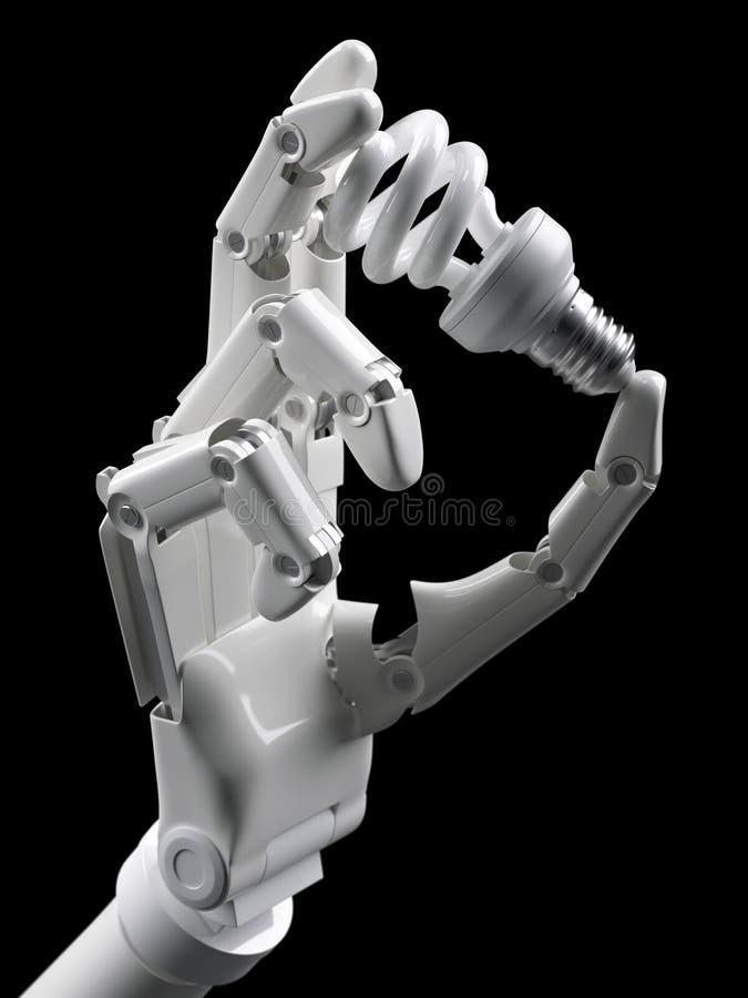 Light bulb in robot hand royalty free illustration