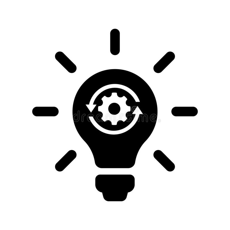 Light Bulb with Setting Gear vector Icon. configuration illustration symbol or sign. royalty free illustration