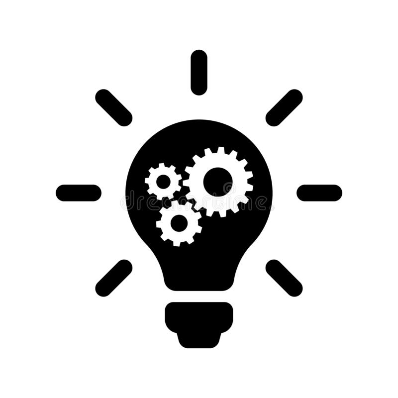 Light Bulb with Setting Gear vector Icon. configuration illustration symbol or sign. For web sites or mobile vector illustration