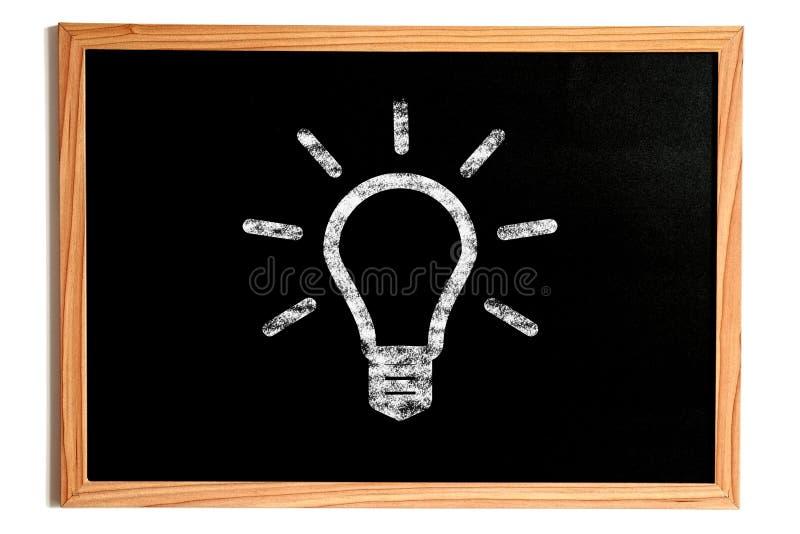 Light Bulb Shape on Chalkboard, Idea Concept stock photography