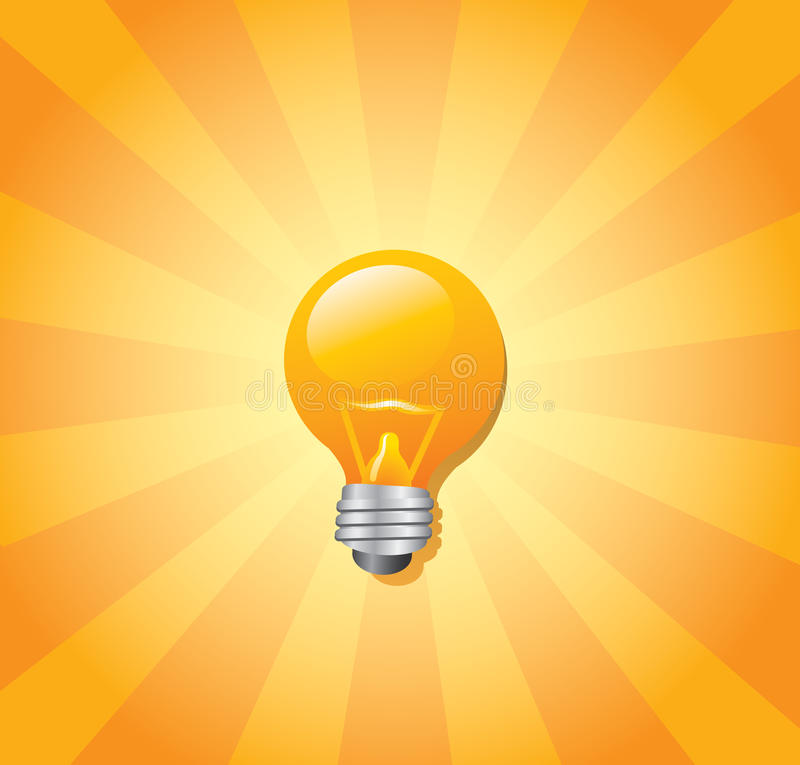 Download Light bulb and sunburst stock vector. Image of middle - 14526320