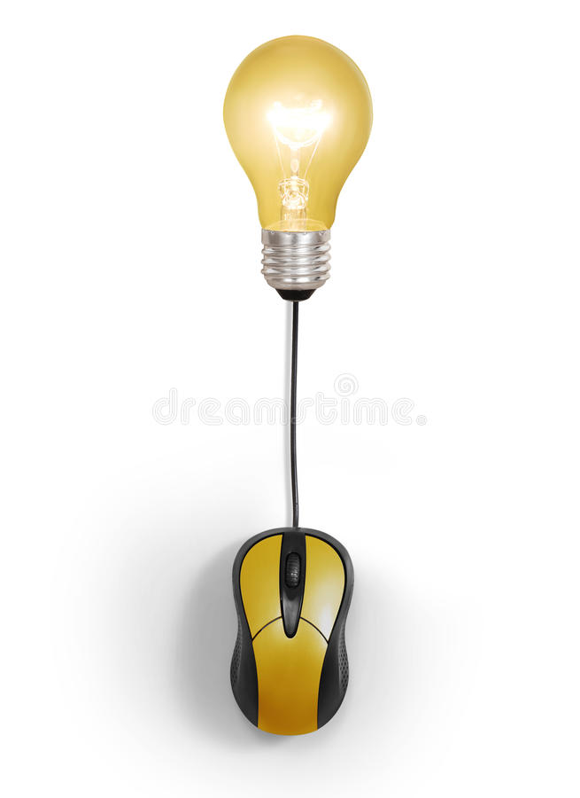 Light bulb symbol with computer mouse sign royalty free stock photography