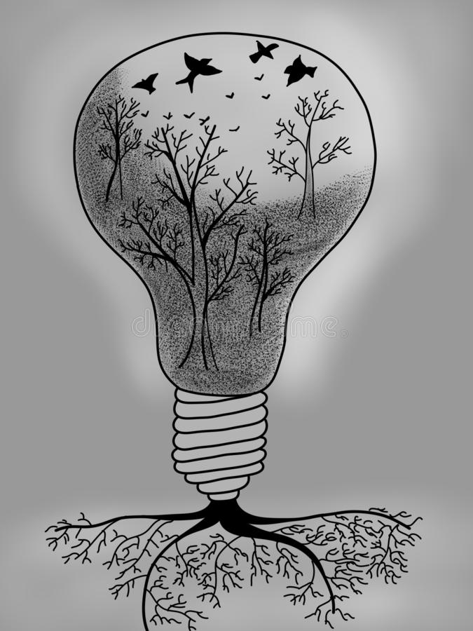 Light bulb with tree inside royalty free illustration