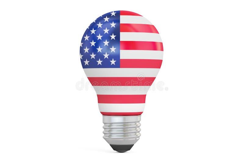Light bulb with USA flag, 3D rendering stock illustration