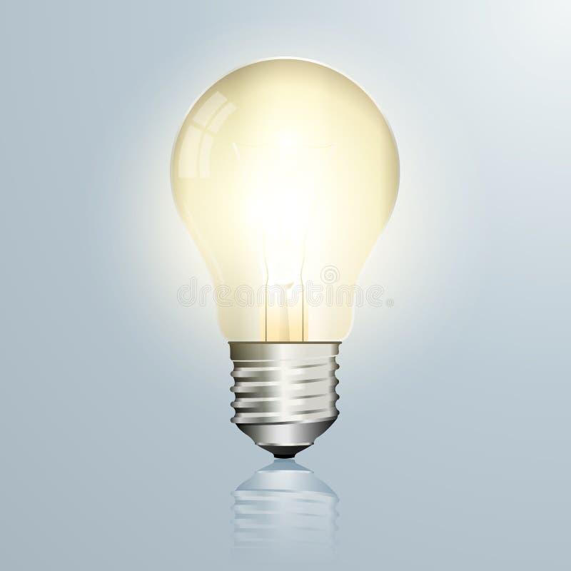 Light bulb vector illustration isolated on glossy background stock illustration