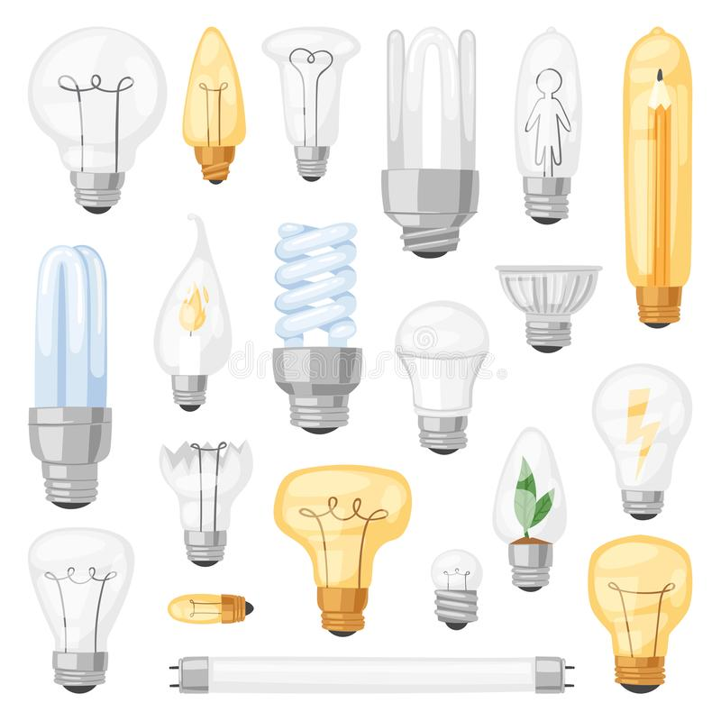 Light bulb vector lightbulb idea solution icon and electric lighting lamp cfl or led electricity and fluorescent light. Illustration set isolated on white vector illustration