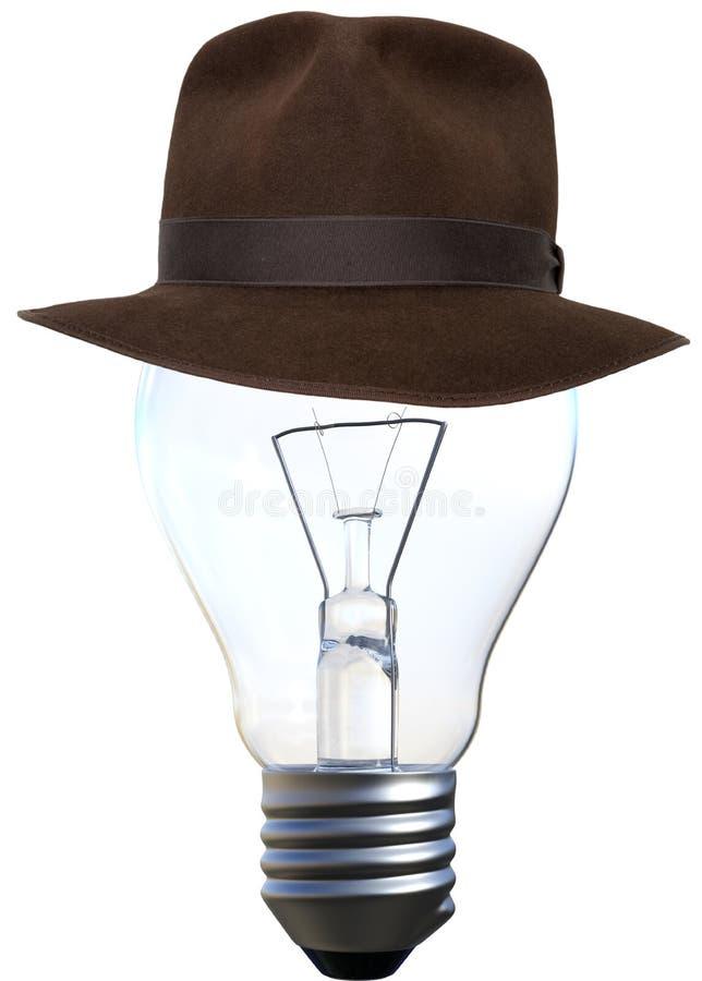 Light Bulb, Fedora, Isolated, Indiana Jones Hat royalty free stock images