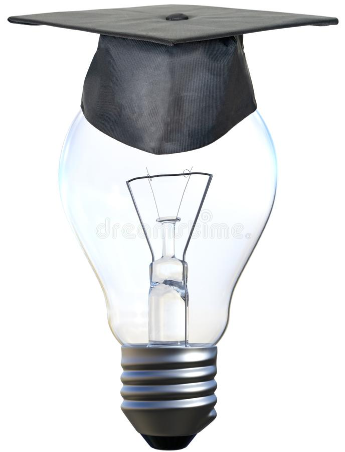 Education, Ideas, Learning, Innovation, Isolated, Teacher. A light bulb is wearing a teacher cap or hat. Bright ideas, innovation, learning, education, success stock photos