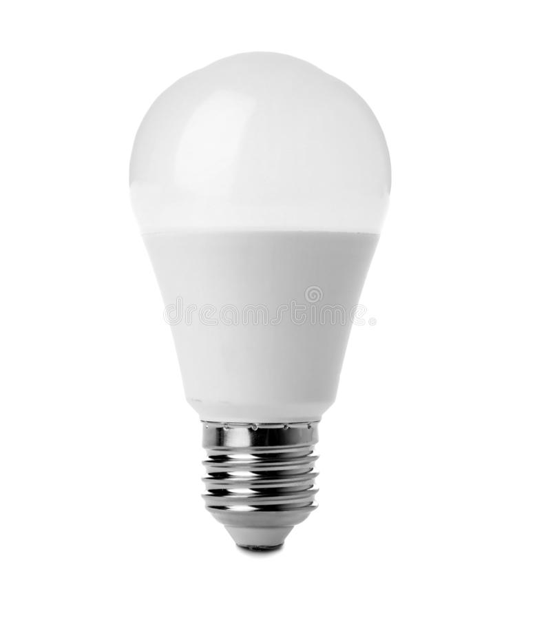 Light bulb on white background. Electrician`s equipment royalty free stock photos