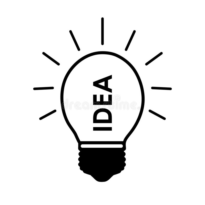 Idea word in light bulb. Black and white symbol. Flat design icon. royalty free illustration