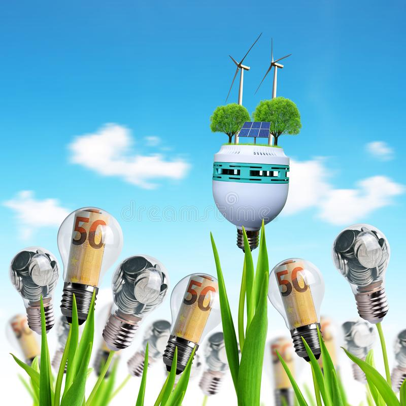 Light bulb with wind turbines,solar panel and coins on a plant. Concept of saving money. royalty free illustration