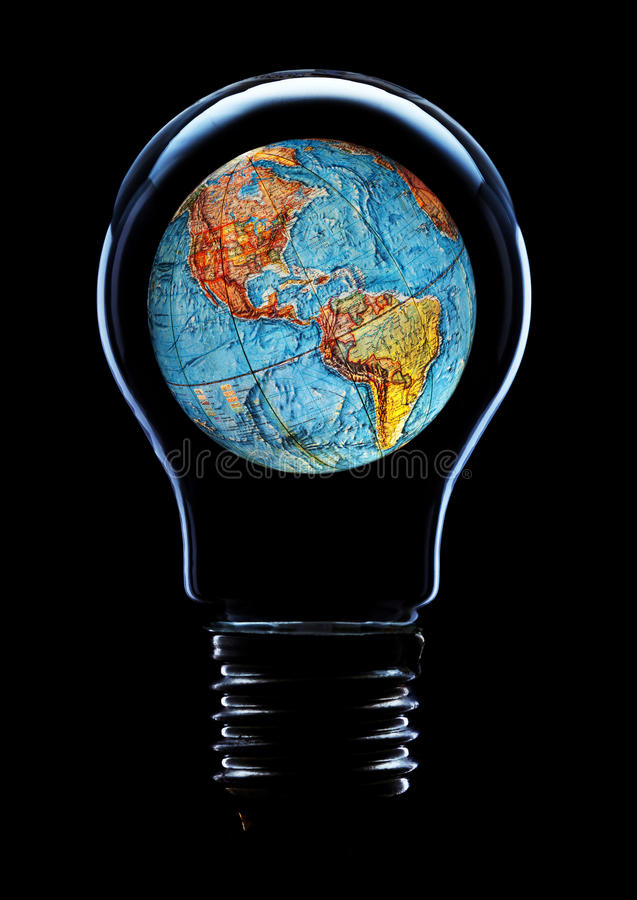 Free Light Bulb With Planet Earth Stock Image - 35706611