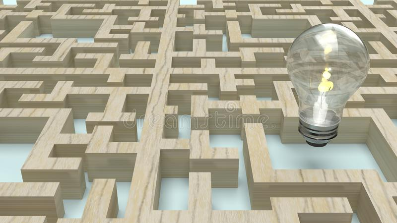 Light bulb in wood maze  for idea content 3d rendering. The  Light bulb in wood maze  for idea content 3d rendering royalty free illustration