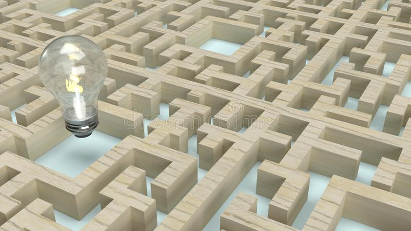 Light bulb in wood maze  for idea content 3d rendering. The  Light bulb in wood maze  for idea content 3d rendering vector illustration