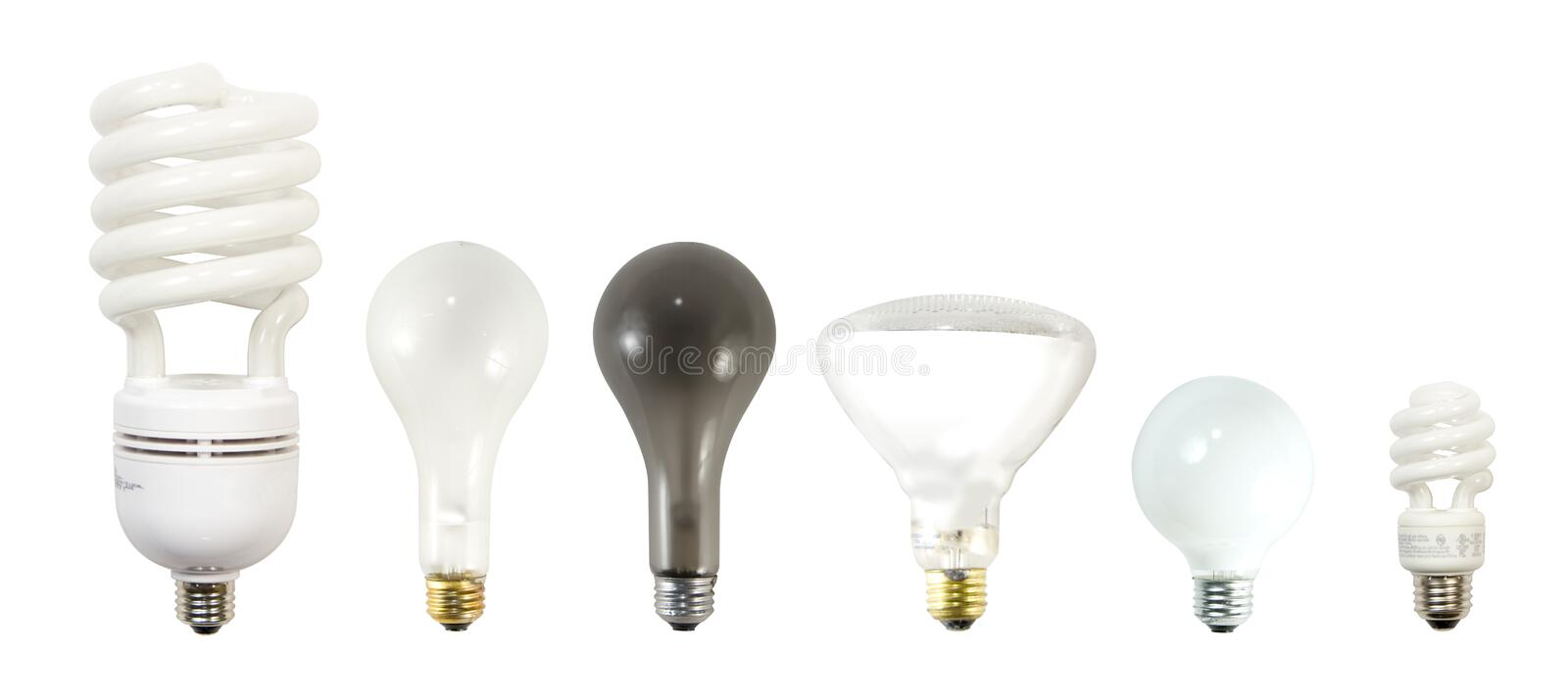 Light Bulbs. Various incandescent and fluorescent light bulbs. Large fluorescent, incandescent, burned out bulb, flood light, decorative bulb, small fluorescent royalty free stock photos