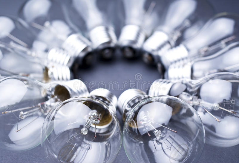 Light-bulbs. Forming a circle, shallow dof royalty free stock photography
