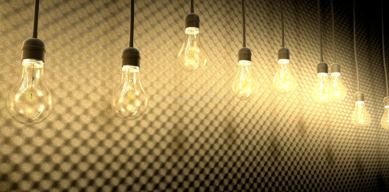 Light Bulbs Against Acoustic Foam royalty free illustration