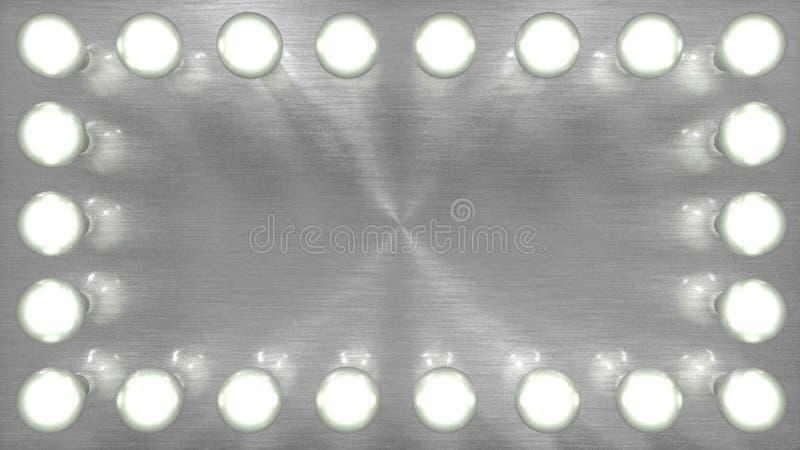 Light bulbs around silver background panel stock photo