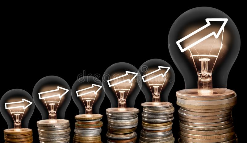 Light Bulbs with Arrows Concept royalty free stock photo