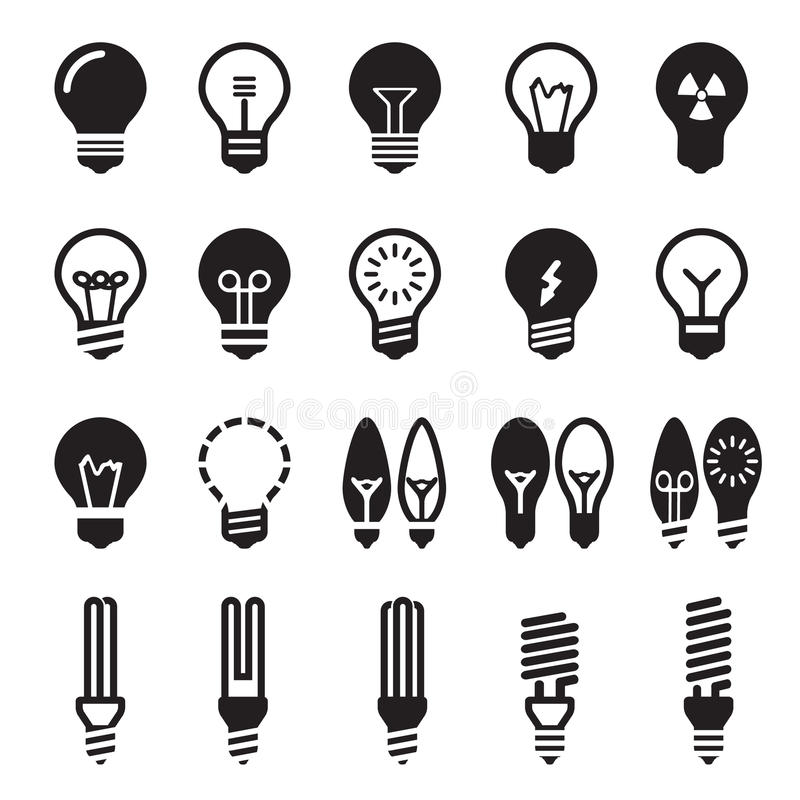 Light bulbs. Bulb icon set royalty free stock photo