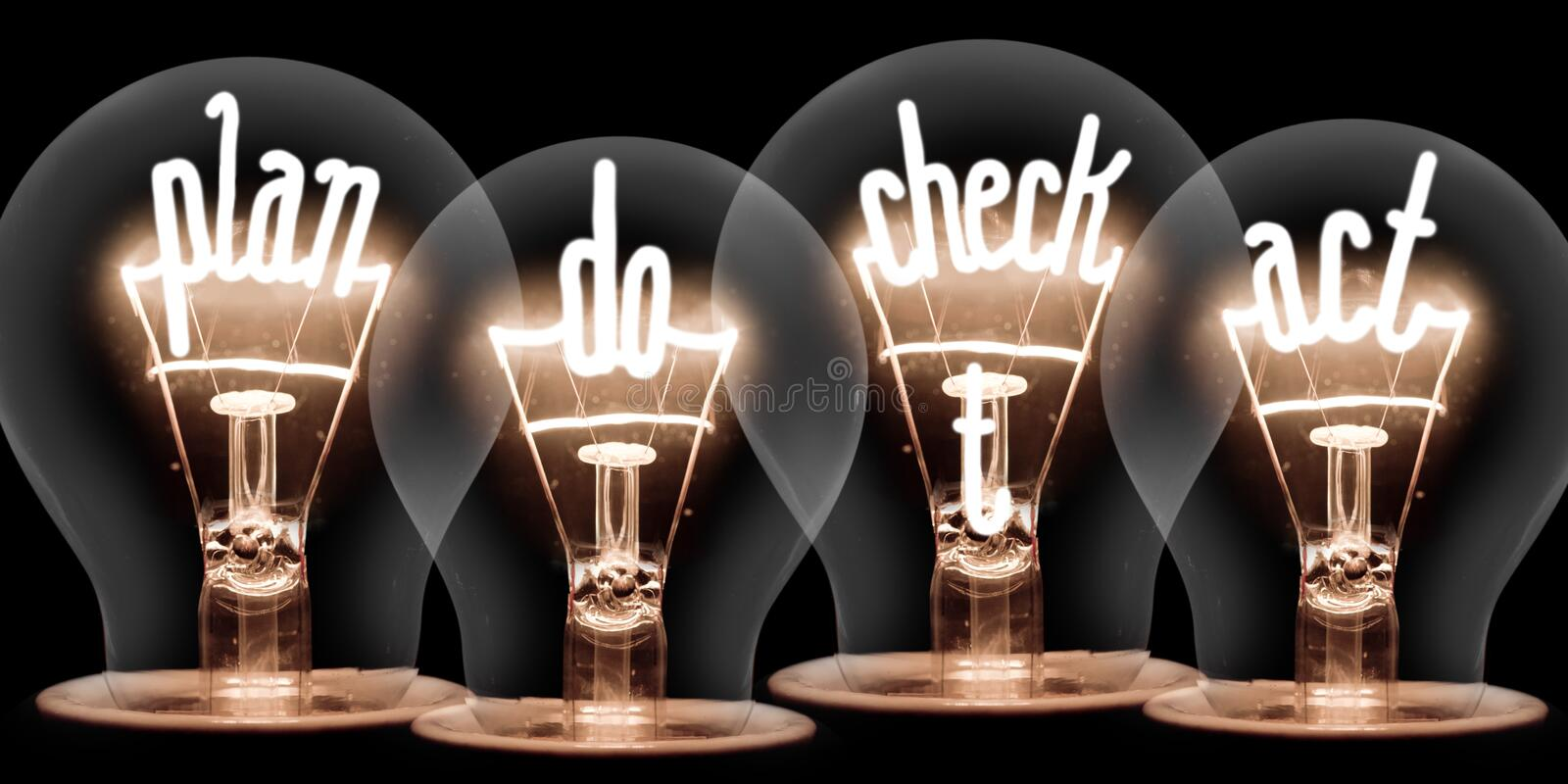 Light Bulbs with Business Process Concept royalty free stock image