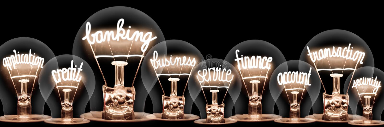Light Bulbs with Banking Concept stock photo