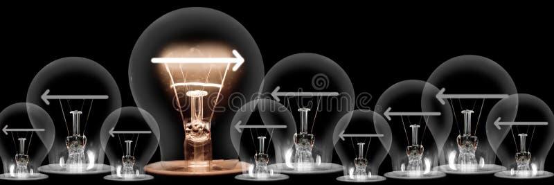 Light Bulbs with Arrows Concept royalty free stock photos